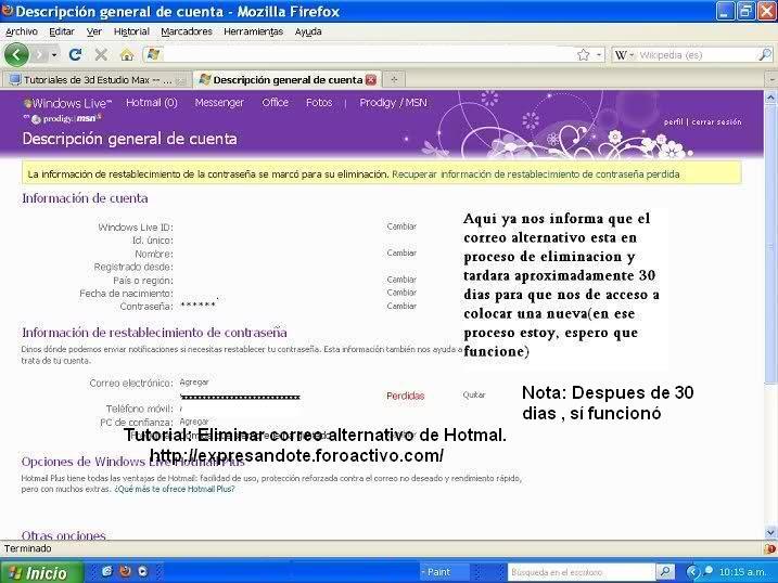 Eliminar correo alternativo en hotmail 611