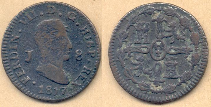 8 Maravedíes de Fernando VII (Jubia, 1817) [WM n° 7247, 7248, 7273, 7274] Fernan10