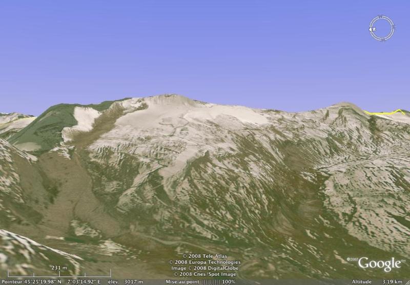 Vues de la Haute-Tarentaise par Google Earth Pisail10