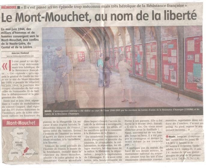 Le MONT-MOUCHET, haut lieu de la Résistance Gaspel10