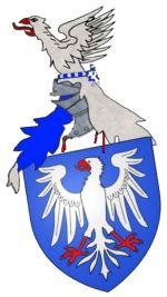 d'azur; à une aigle impériale d'argent; membrée, becquetée et lampassée de gueule