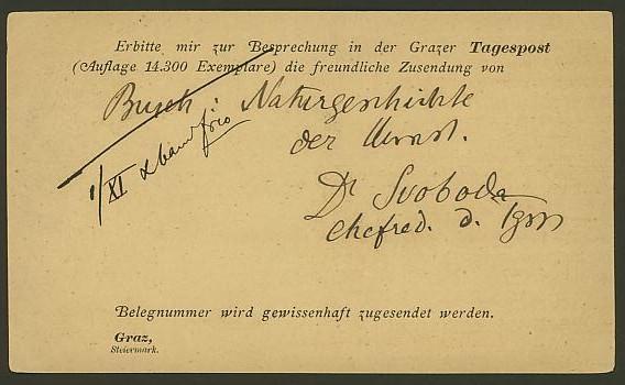 Nachtrag - Bücher, Zeitschriften, Verlage, Buchhandlungen   -   Textzudrucke auf Postkarten N_graz11