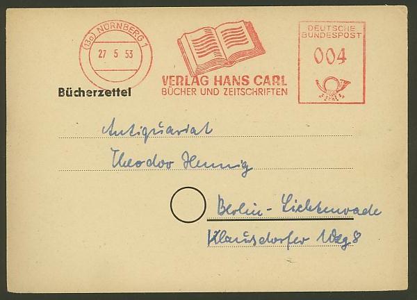 Bildhafte Werbezudrucke bei Bedarfspost  -  Bücher, Zeitschriften, Verlage Verlag10