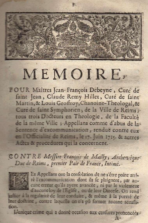Mémoire pour les trois Docteurs et Curéz de Reims - Janvier 1716 02_pag10