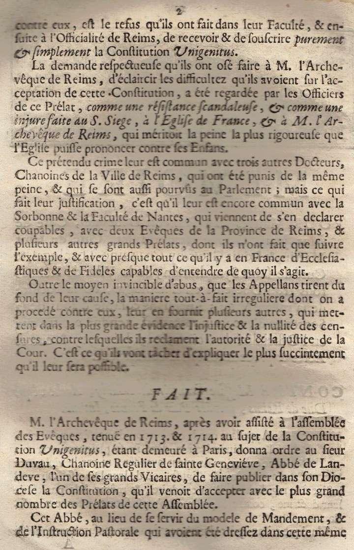 Mémoire pour les trois Docteurs et Curéz de Reims - Janvier 1716 03_pag10