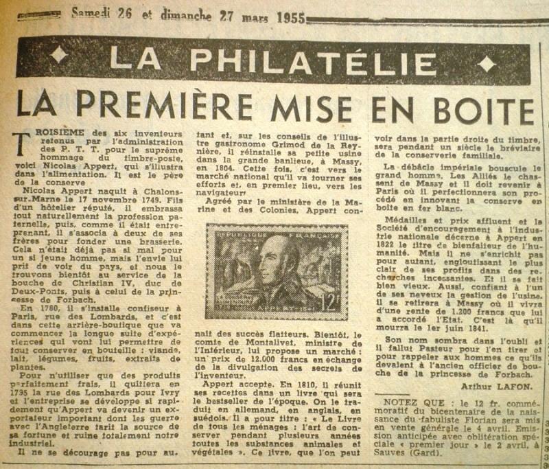 """Nicolas APPERT, """"inventeur"""" de la Boite de Conserve 1955-010"""