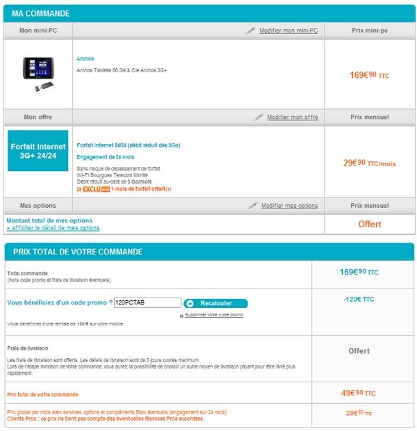 Archos 80 9g pour 49,90 € chez Bouygues Telecom Archos11