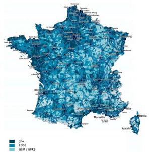 Bouygues Telecom, annonce 90% de la population en 3G+ Mapcou10