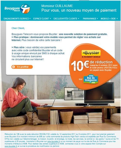 Bouygues Telecom  vous offre 10€ avec Buyster sur RdC Nlbuys10