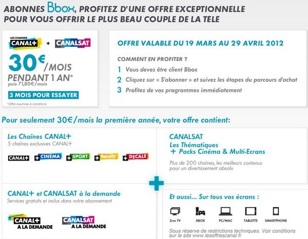 Canal+ et CanalSat pour 30€ avec Bbox Offrec12