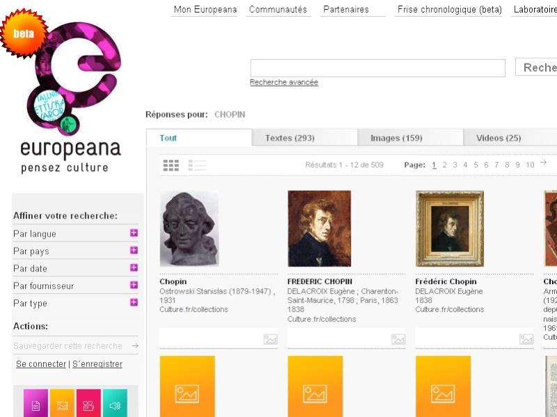 La bibliotèque Europeana.eu Europe10