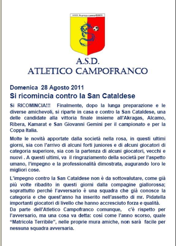1° turno C. I. ritorno: Sancataldese - Atl. Campofranco 1-3 112