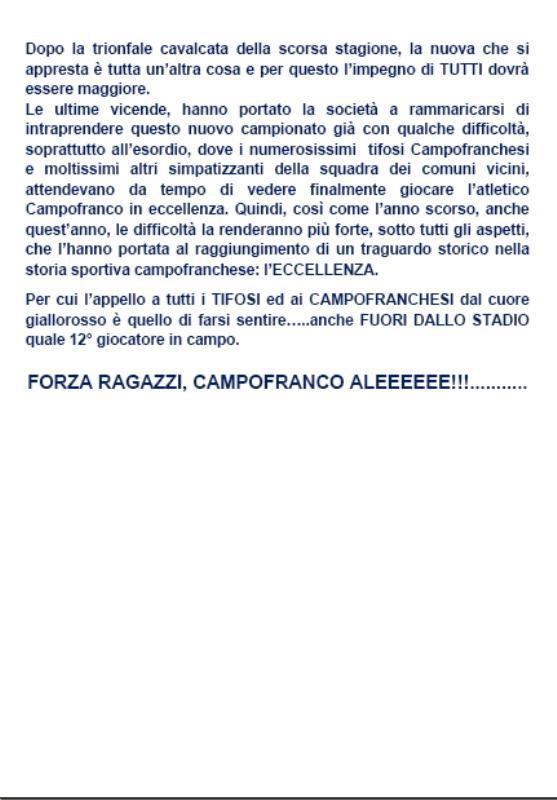 1° turno C. I. ritorno: Sancataldese - Atl. Campofranco 1-3 213
