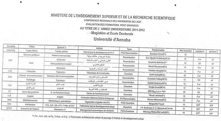 ماجستير جامعة عنابة 2011/2012 26993610