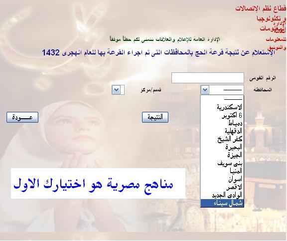 حصريا نتيجة قرعة الحج 2011 بالرقم القومى 11111