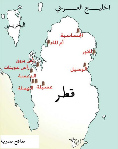 خريطة اهم المناطق الاثرية فى دولة قطر 1226