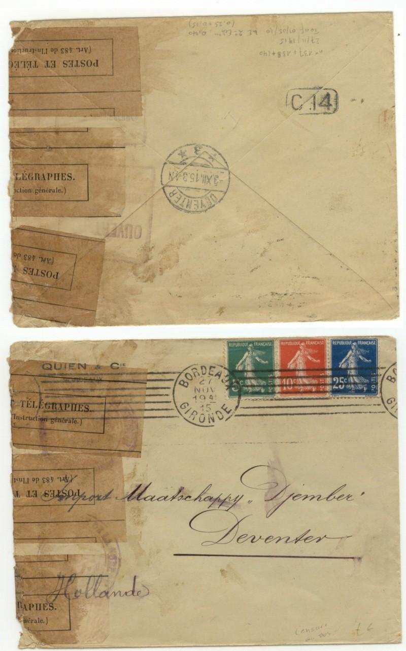 OMEC + censure militaire 14-18 + histoire postale Hollan10