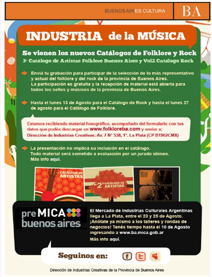 Convocatoria catalogos Folklore y Rock | Pre-Mica BsAs 01018
