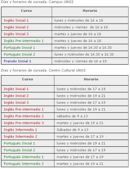 CURSOS - Inscripción a los cursos de idiomas de la UNGS: inglés, portugués y francés Cursad10