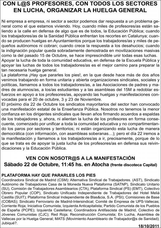 Manifestación en defensa de la enseñanza pública, Sábado 22-10-11 Atocha 11:45 H Octavi14