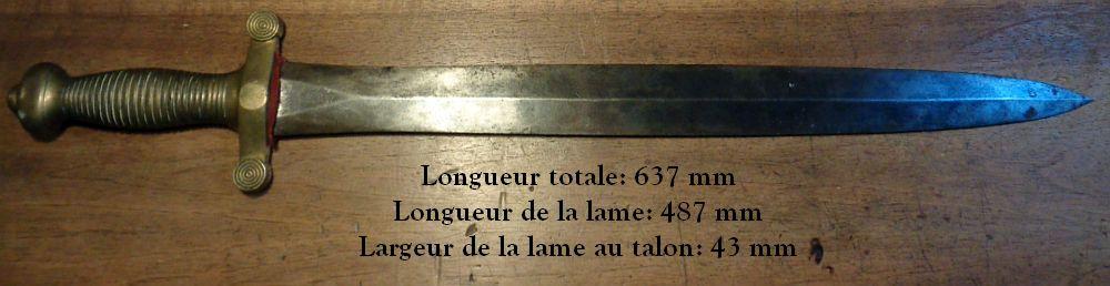 Les poinçons sur un glaive 1831 111