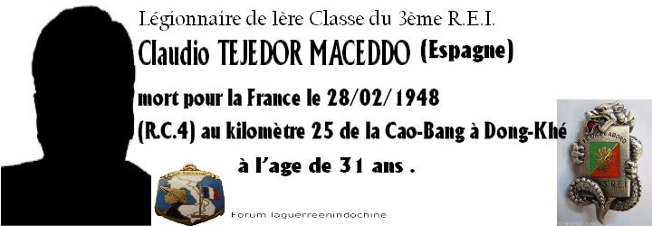 Légionnaire  Claudio TEJEDOR MACEDDO 3ème R.E.I 1948 Forum_12