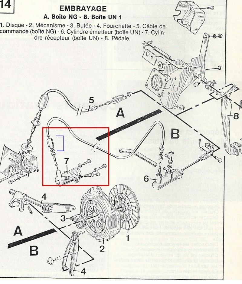 Débrancher le tuyau sur le récepteur embrayage hydraulique Embr_b10