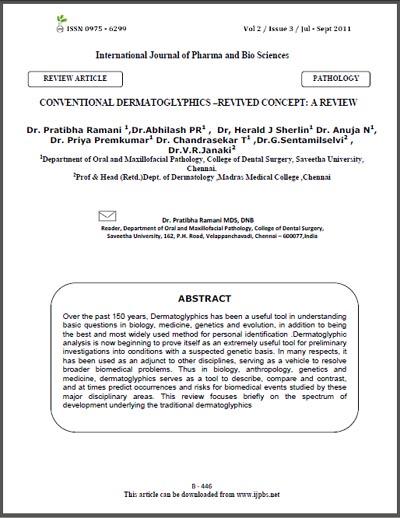 ARTICLE: 'Conventional Dermatoglyphics - A Review' Conven10