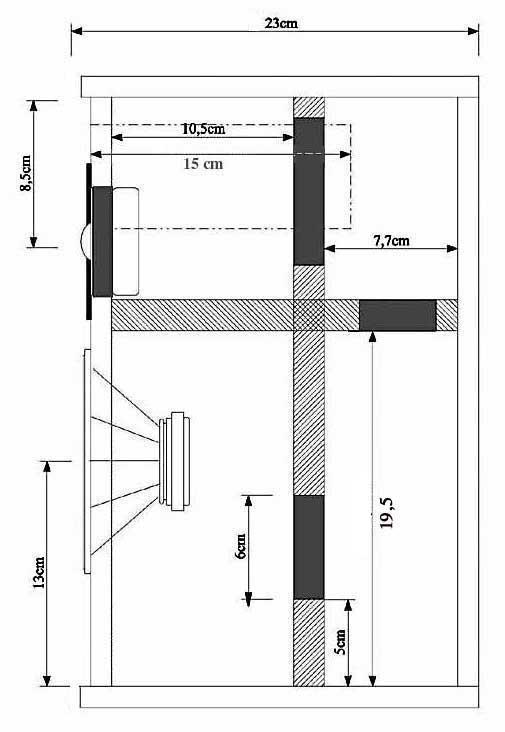 Diffusore bookshelf a due vie con woofer caricato in doppio carico Asimmetrico a vista (DCAAV) 213