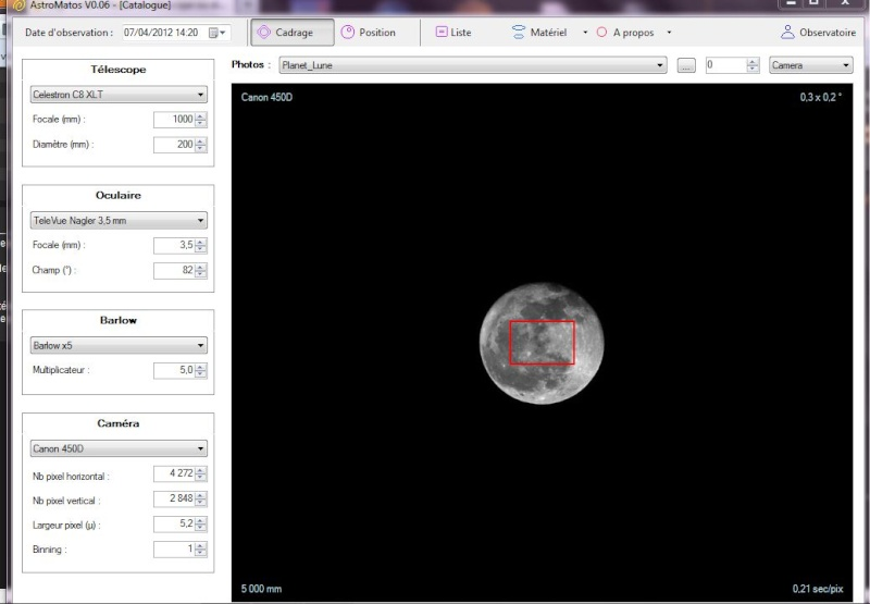 augmenter la focale du télescope  ou diminuer celle de l'oculaire Captur11