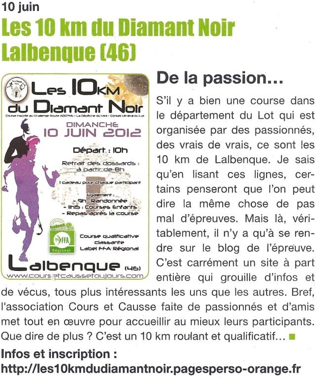 4e édition 10 km Diamant Noir 2012 : informations   Lalben11