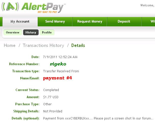 My payment proofs Cyberb10