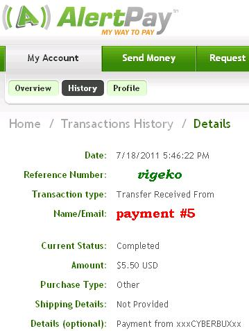 My payment proofs Cyberb11