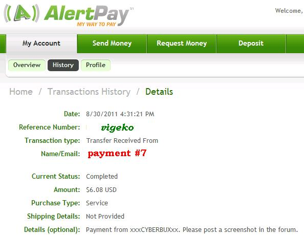 My payment proofs Cyberb13
