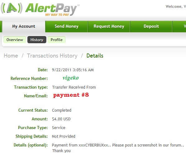 My payment proofs Cyberb15