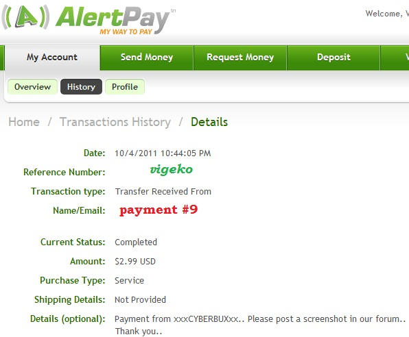 My payment proofs Cyberb16