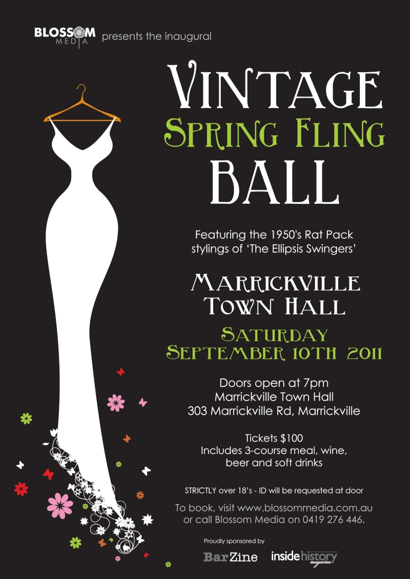 Marrickville Town Hall to host first ever Vintage Spring Fling!  Spring12