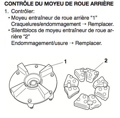 Joints Silentblocs usés moyeu roue arrière Moyeu12