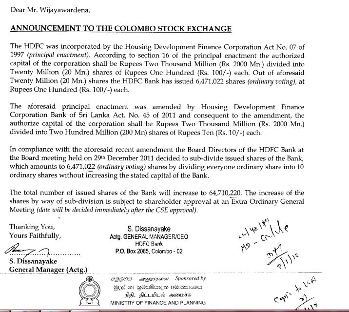 SUB DIVISION OF SHARES - HDFC Hdfc10
