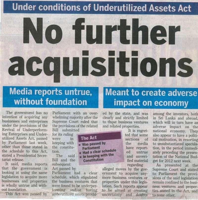 Good News 'No furthur Aquisition' SL gov. Untitl11