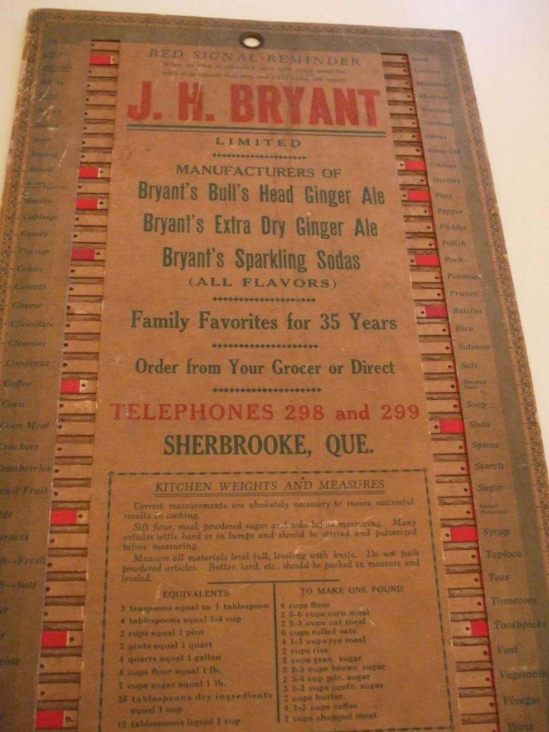 Liste d'épicerie Bryant 1930 Dscf1112