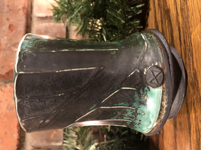 Clearly marked little wood fired vase Bowtie11