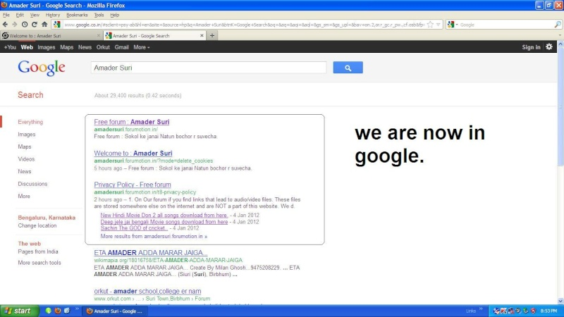 We are now in google... Amader10