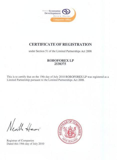 Мощный брокер RoboForex из Новой Зеландии Certif10