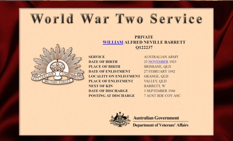 My GrandFather William Alfred Neville Lied about his age so he could serve his country  Wanwar10