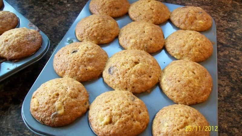 Muffins aux bananes, chocolat et mélasse 100_3219