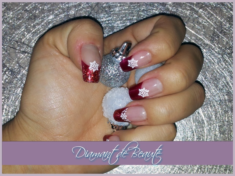 French Manucure aux ongles des mains  Noel-r11