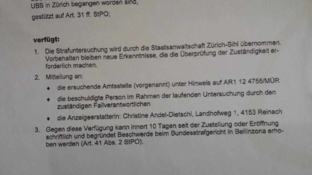 ANZEIGE BANK UBS AG 16.Oktober 2012 2021 BUNDESANWALTSCHAFT BERN Stasa_16