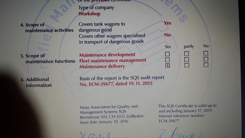 JOSEF MEYER RAIL AG CERTIFICATED COVERED TANKS Transp11