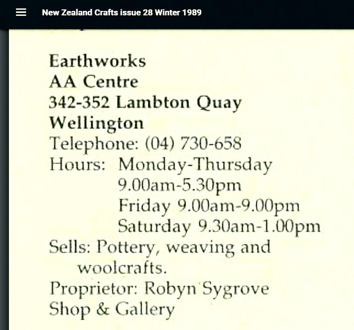 NZ Crafts Issue 28 1989 ~ (Earthworks Shop address) 2021-010